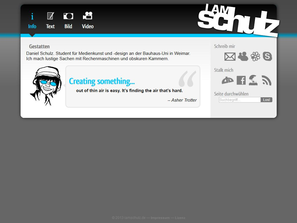 A screenshot of this website in 2011. It's an enclosed design with a black header with navigation icons and text, and the logo. Beneath that is a blue divider line and the white content area. It features an introductory text, an inspirational quote and contact options in a side panel.